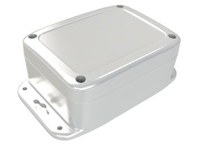 gray NEMA 4X waterproof enclosure with flanges and screw down cover