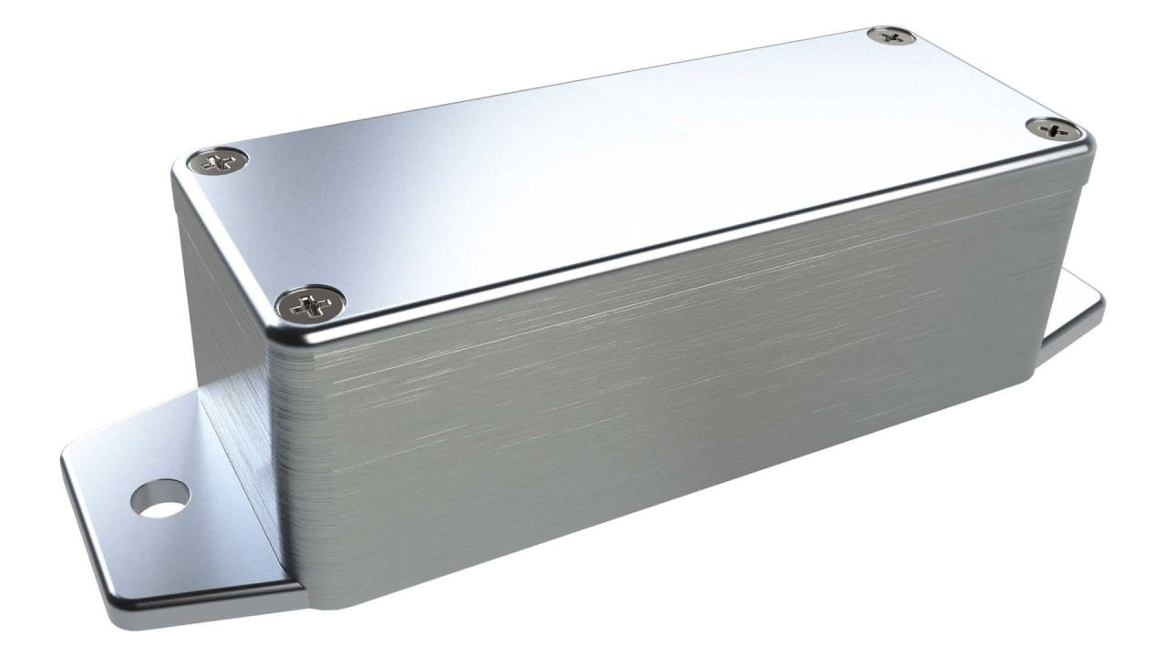 AN-00F Natural diecast aluminum enclosure with flanges for wall mounting - 3.54 x 1.42 x 1.18 inches