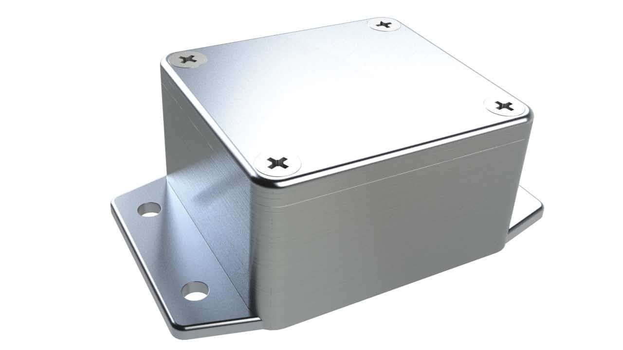 AN-01F Natural diecast aluminum enclosure with flanges for wall mounting - 2.52 x 2.28 x 1.38 inches