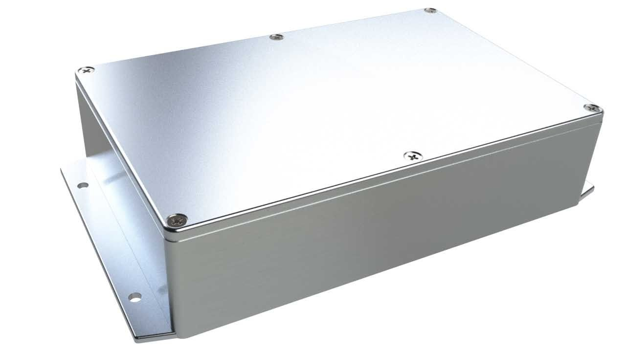 AN-07F Natural diecast aluminum enclosure with flanges for wall mounting - 8.76 x 5.75 x 2.17 inches