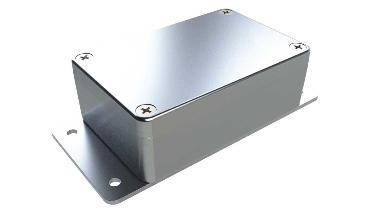 AN-12F Natural diecast aluminum enclosure with flanges for wall mounting - 3.85 x 2.52 x 1.35 inches
