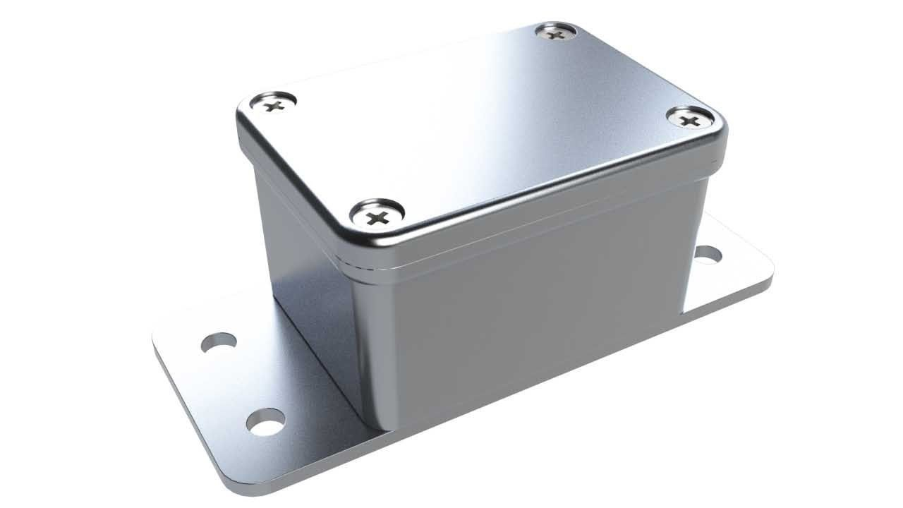 AN-18F Natural diecast aluminum enclosure with flanges for wall mounting - 2.19 x 1.61 x 1.22 inches