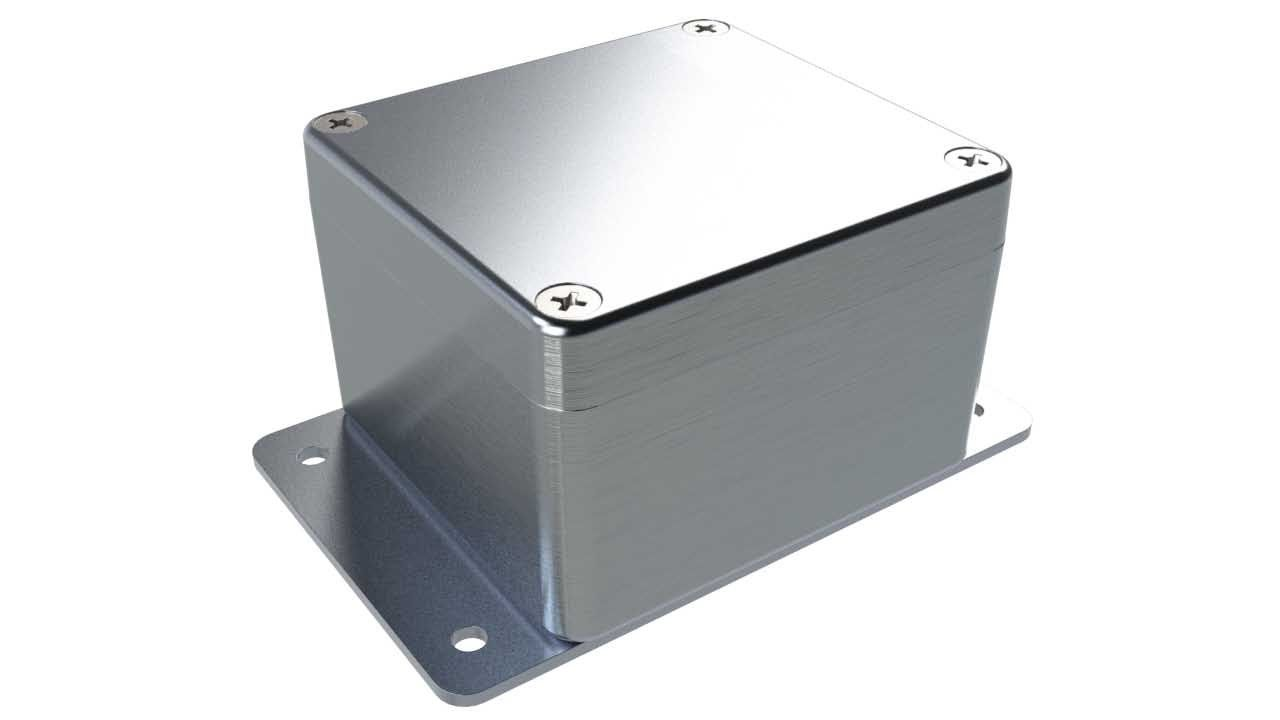 AN-19F Natural diecast aluminum enclosure with flanges for wall mounting - 3.13 x 2.93 x 2.05 inches