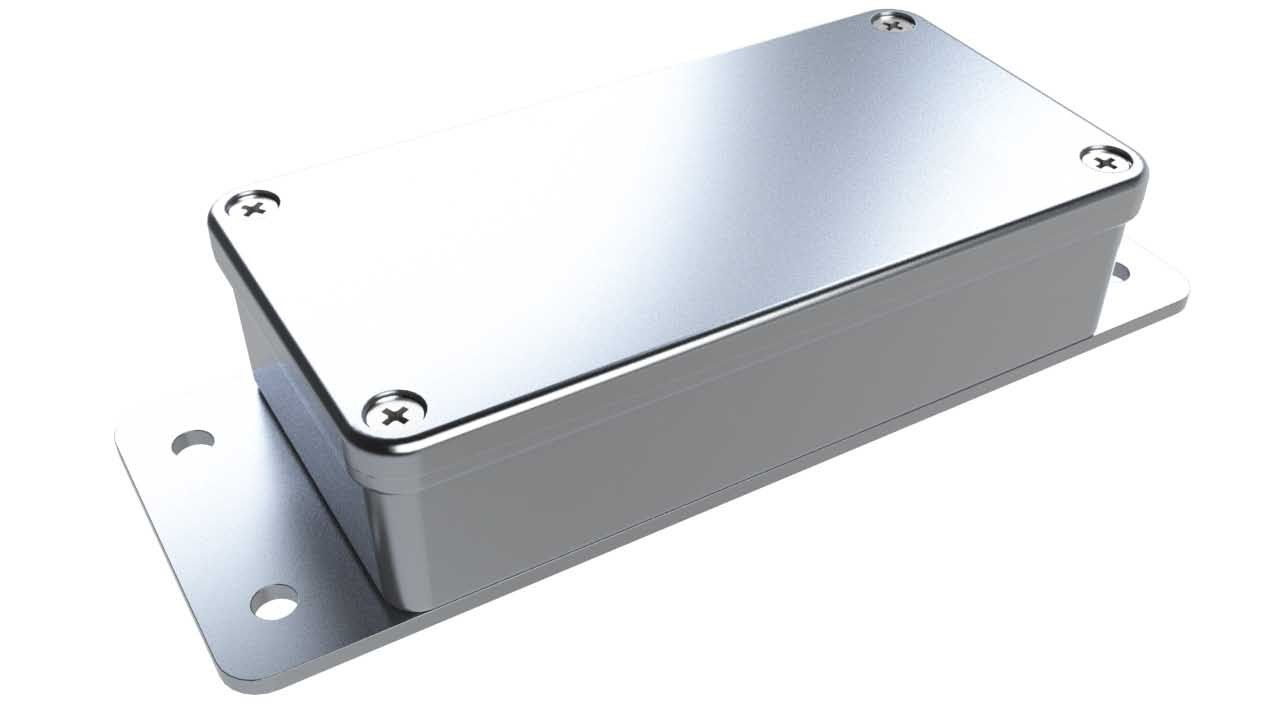 AN-20F Natural diecast aluminum enclosure with flanges for wall mounting - 4.04 x 2.07 x 1 inches
