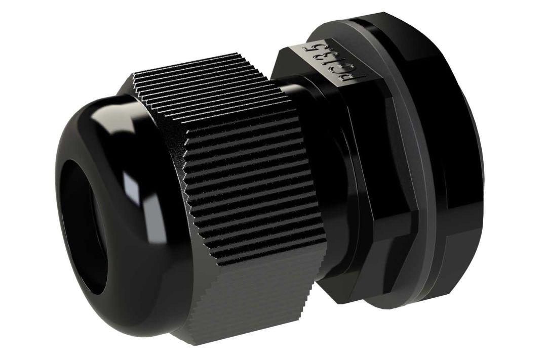 Black plastic cable glands for enclosures - rated NEMA 4X