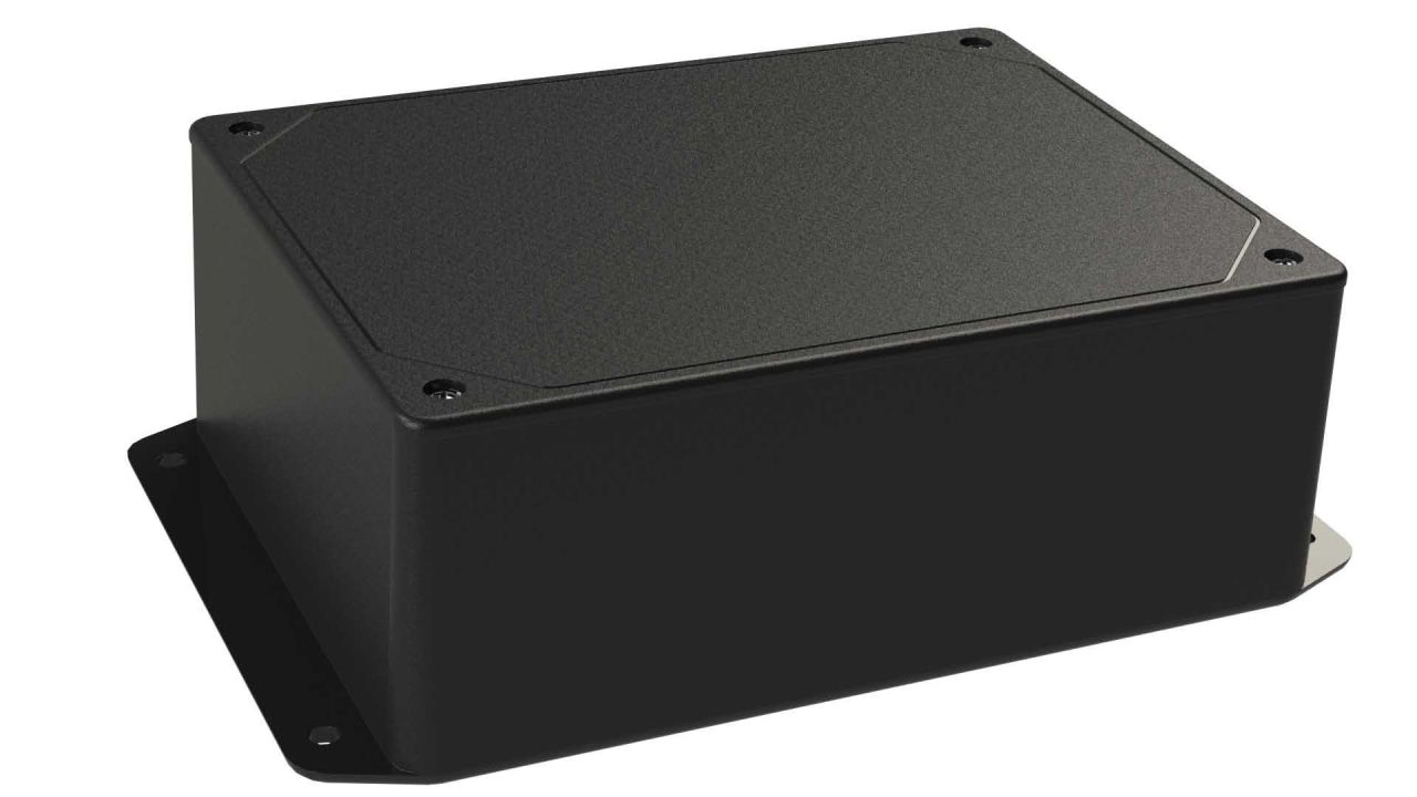 DC-46FMBYT Black plastic heavy duty enclosure for electronics with a Flush/Textured cover style - 6.13 x 4.62 x 2.25 inches