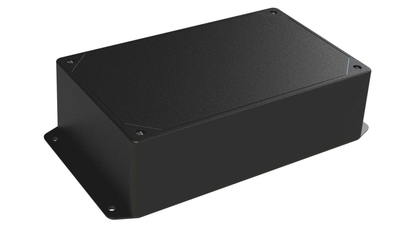 DC-47FMBYT Black plastic heavy duty enclosure for electronics with molded on surface mount flanges and a Flush/Textured cover style - 7.62 x 4.62 x 2.25 inches