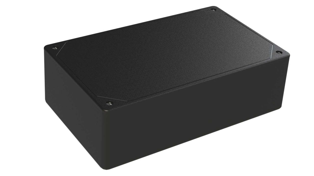 DC-47PMBYT Black plastic heavy duty enclosure for electronics with a Flush/Textured cover style - 7.62 x 4.62 x 2.25 inches