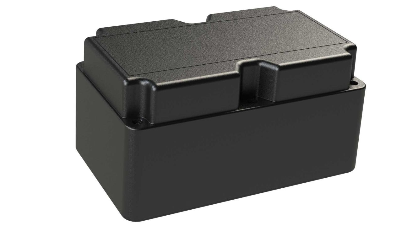 DC-85PMMT Black plastic heavy duty enclosure for electronics with a Flush/Textured cover style - 8.25 x 5 x 4.33 inches