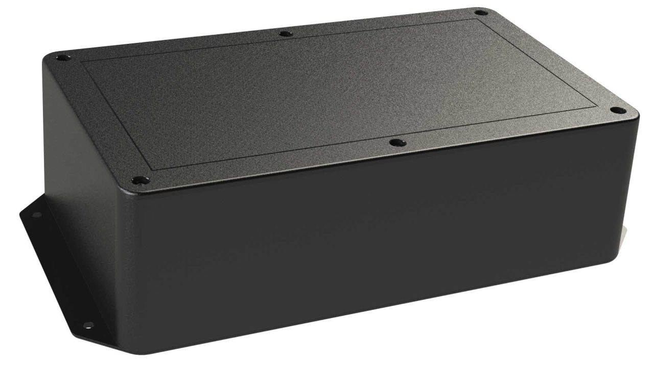 DC-96FMBYT Black plastic heavy duty enclosure for electronics with molded on surface mount flanges and a Flush/Textured cover style - 10 x 6 x 3 inches