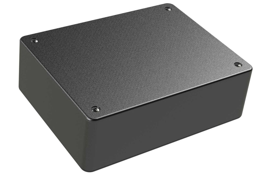 LP-70MB Black basic indoor plastic box for electronics with a Flush/Textured cover style - 5.5 x 4.25 x 1.75 inches