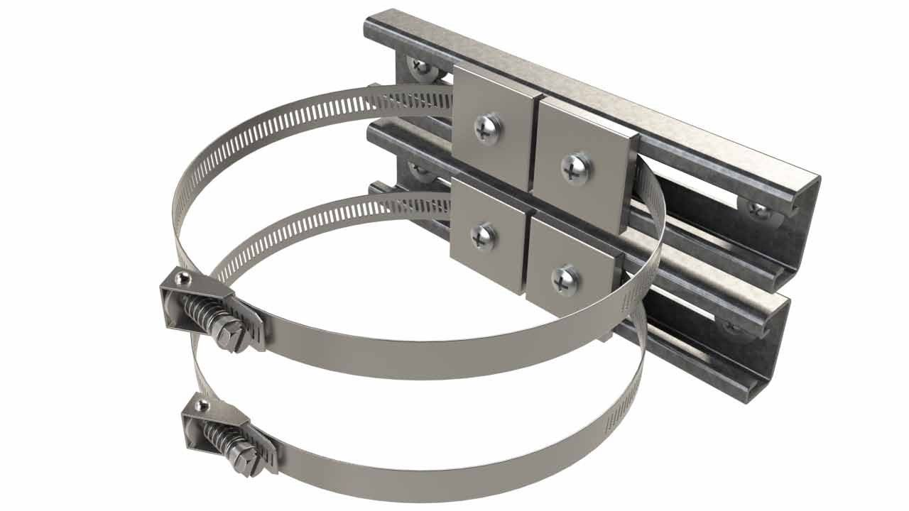 Pole mounting kit for electrical outdoor enclosures