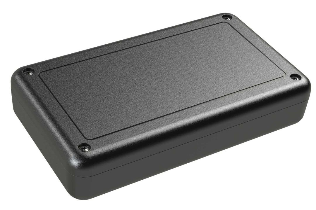 SL-53PMBT Black indoor handheld slim enclosure for electronics with PC mounting bosses - 5.63 x 3.25 x 1.15 inches