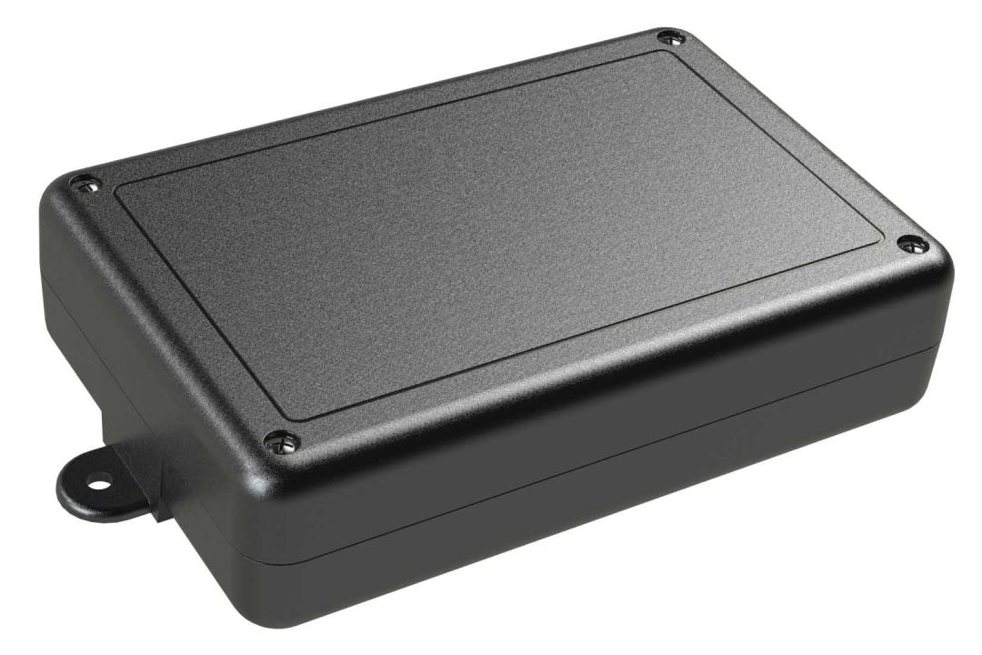 SL-68FMBT Black indoor slim enclosure for electronics with PC mounting bosses - 6.02 x 4.01 x 1.5 inches