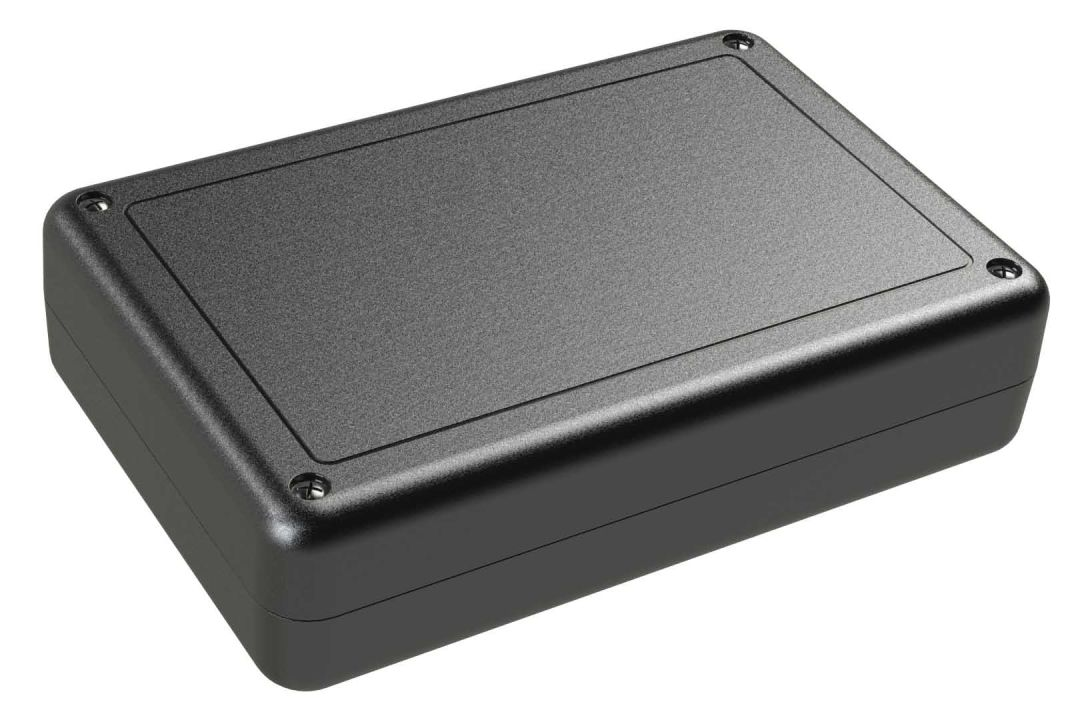 SL-68PMBT Black indoor handheld slim enclosure for electronics with PC mounting bosses - 6.02 x 4.01 x 1.5 inches