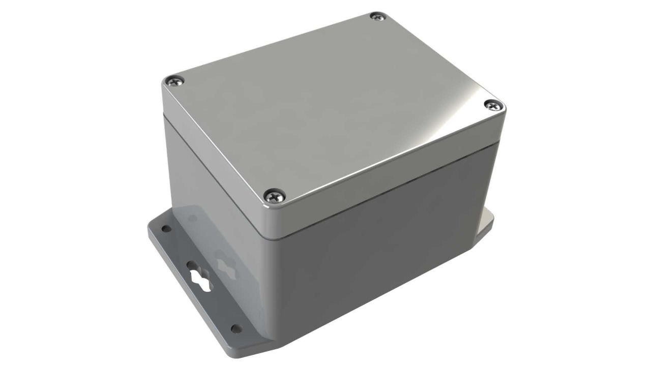 WA-28F*16 Gray indoor NEMA 4x waterproof enclosure for electronics with wall mount flange - 4.53 x 3.54 x 3.15 inches
