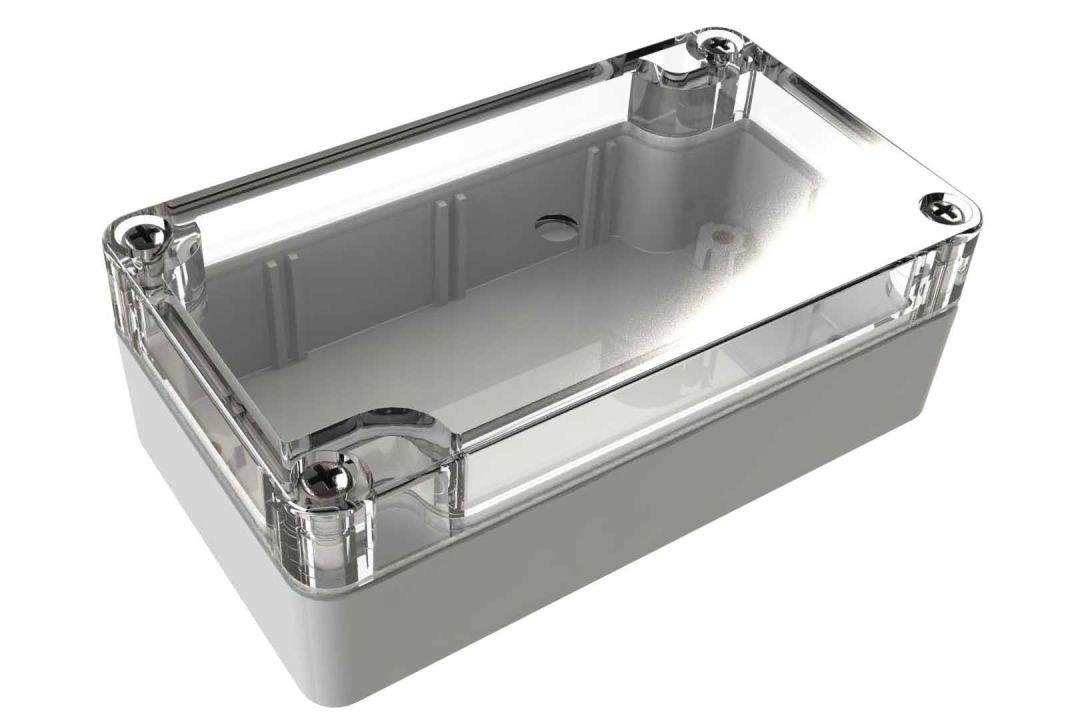 WC-21*1508 Gray with Clear Cover outdoor NEMA 4x enclosure for electronics - 4.53 x 2.56 x 1.57 inches