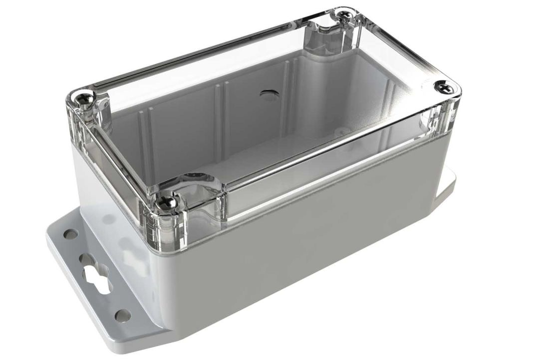 WC-22F*1508 Gray with Clear Cover outdoor NEMA 4x enclosure for electronics - 4.53 x 2.56 x 2.17 inches