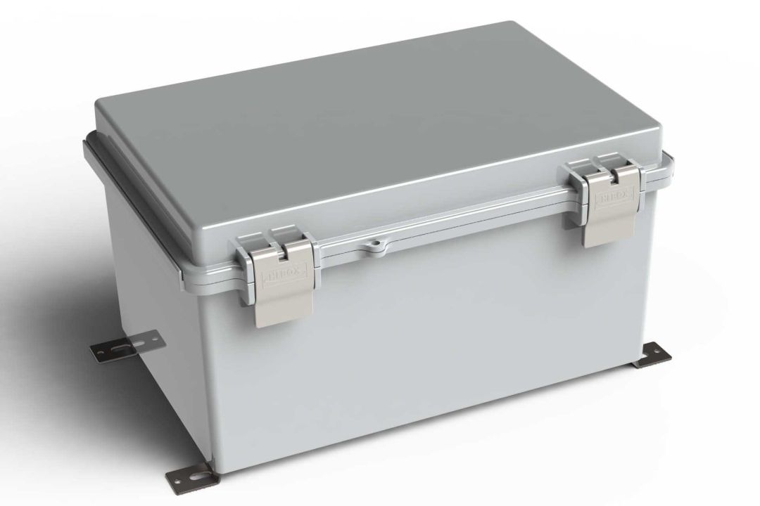 WH-18-02 Gray outdoor hinged waterproof NEMA electrical enclosure - 11.81 x 7.87 x 6.29 inches