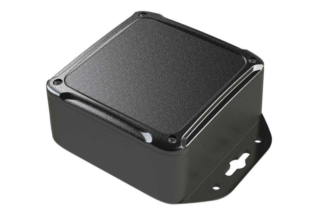 XR-44FMBT Black plastic indoor box for electronics with internal PCB mounting bosses - 4 x 4 x 1.85 inches