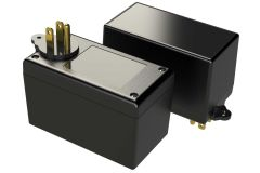 PM2425R03XWT Black wall plug in enclosure for electronics with 3 prongs and a grounding tab - 4.11 x 2.23 x 2.5 inches
