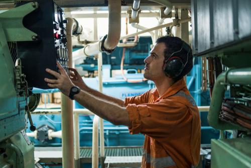 marine engineer performing inspection