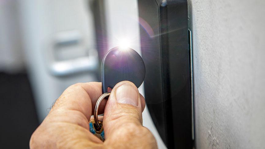 scanning key at door